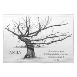 Family Ties: Gnarly Tree: Pencil Drawing, Quote Place Mats