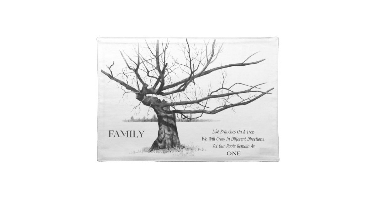 family ties  gnarly tree  pencil drawing  quote placemat