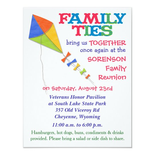 Family Ties Kite Family Reunion Invitation  ZazzleCom