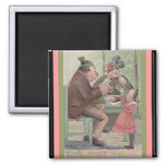 Family Time Eating Dinner Antique German PC Art Refrigerator Magnets