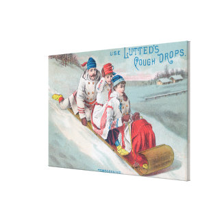 Family Tobogganing and Using Lutted Cough Canvas Print