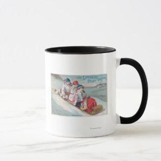 Family Tobogganing and Using Lutted Cough Mug
