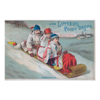 Family Tobogganing and Using Lutted Cough Poster