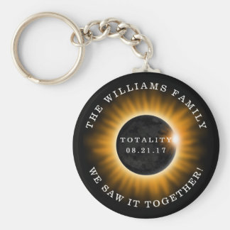 Family Totality Solar Eclipse Personalized Keychain