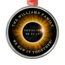 Family Totality Solar Eclipse Personalized Metal Ornament