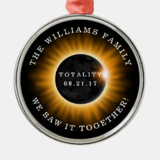 Family Totality Solar Eclipse Personalized Metal Ornament at Zazzle