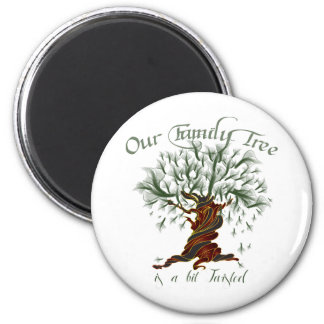 Family Tree a Bit Twisted 2 Inch Round Magnet