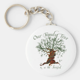 Family Tree a Bit Twisted Basic Round Button Keychain