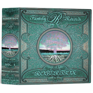 Family Tree | Antique Vintage Green Foil Look 3 Ring Binder