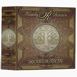 Family Tree | Antique Vintage Leather Book Look Binder at Zazzle