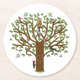 family tree art round paper coaster