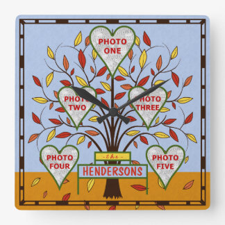 Family Tree Custom 5 Photo Collage Autumn Leaves Square Wall Clock