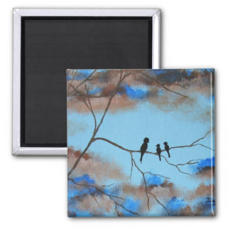 Family Tree From Original Painting 2 Inch Square Magnet