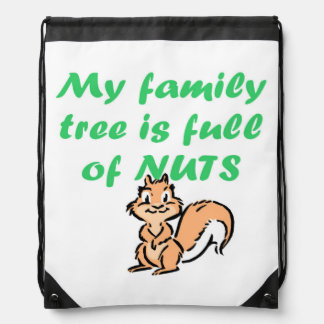 FAMILY TREE FULL OF NUTS DRAWSTRING BAG