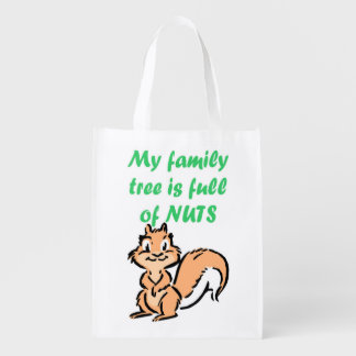FAMILY TREE FULL OF NUTS REUSABLE GROCERY BAGS