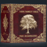 """Family Tree Genealogy Album Binder<br><div class=""""desc"""">An antique leather look genealogy album featuring a family tree design in gold and brown colors. Art by Amelia Carrie</div>"""