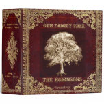 Family Tree Genealogy Album Binder<br><div class='desc'>An antique leather look genealogy album featuring a family tree design in gold and brown colors. Art by Amelia Carrie</div>