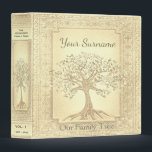 """Family Tree Genealogy Album Gold Binder<br><div class=""""desc"""">A soft gold suede leather look antique genealogy album featuring a family tree design in. Design by Amelia Carrie</div>"""