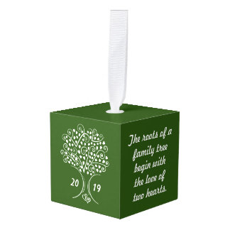 Family Tree Genealogy Ancestry Christmas Gift Cube Ornament