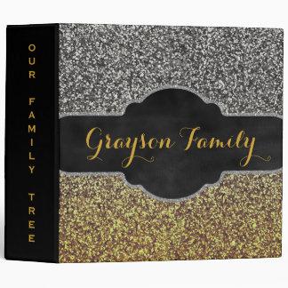 Family Tree Genealogy | Faux Silver Gold Glitter Binder