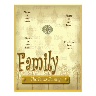 Family Tree Genealogy flyer or scrapbook template