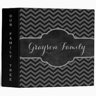 Family Tree Genealogy Name | Black Gray Chevrons Binder