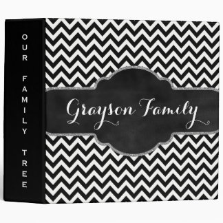 Family Tree Genealogy Name | Black White Chevrons Binder