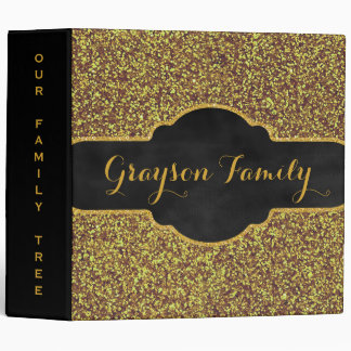 Family Tree Genealogy Name | Faux Gold Glitter 3 Ring Binder