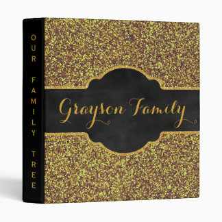 Family Tree Genealogy Name | Faux Gold Glitter Binder
