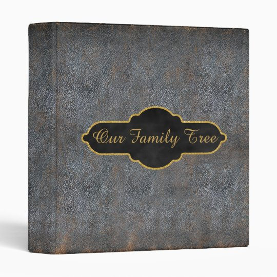Family Tree Genealogy Rustic Antique Book Leather 3 Ring