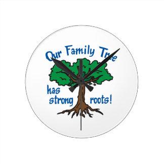 FAMILY TREE HAS STRONG ROOTS ROUND WALLCLOCKS