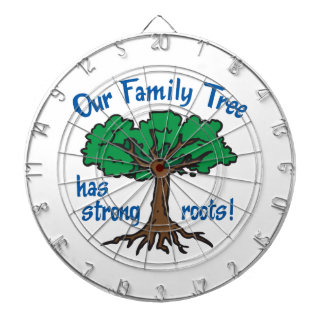 FAMILY TREE HAS STRONG ROOTS DARTBOARD WITH DARTS