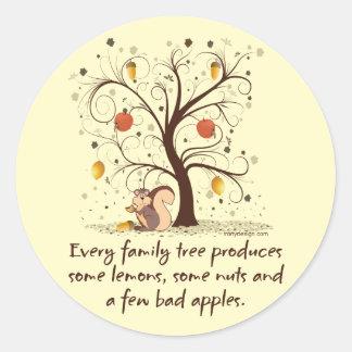 Family Tree Humor Classic Round Sticker