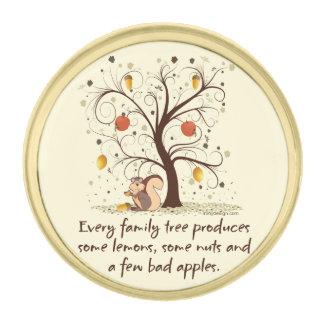 Family Tree Humor Gold Finish Lapel Pin