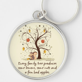 Family Tree Humor Silver-Colored Round Keychain
