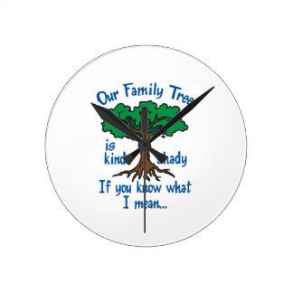 FAMILY TREE IS SHADY ROUND WALL CLOCKS