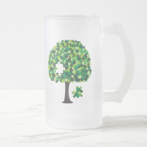 Family Tree Jigsaw Puzzle Frosted Glass Beer Mug