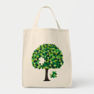 Family Tree Jigsaw Puzzle Grocery Tote Bag