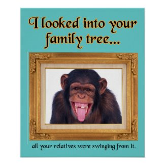 Family Tree Monkey Funny Print Poster Sign Humor
