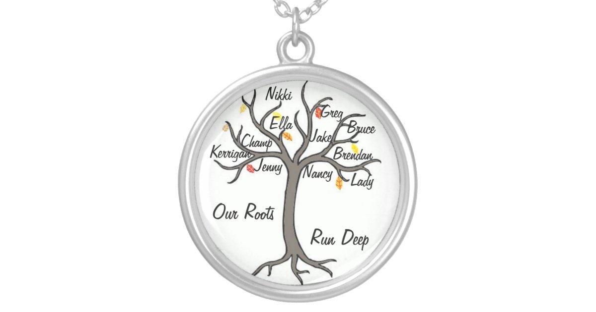 necklace jewelry custom with name silver grandmother s charm family tree