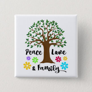 Family Tree Peace Love Family Reunion Gift Pinback Button