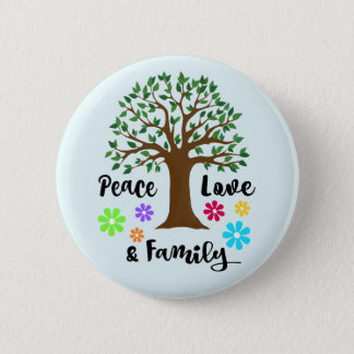 Family Tree Peace Love Family Reunion Round Gift Pinback Button
