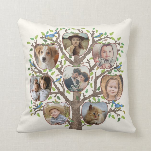 Family Tree Photo Collage 16 Pictures Light Beige Throw Pillow Zazzle Com