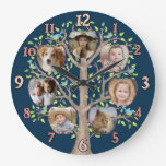 Family Tree Photo Collage 7 Custom Pics Dark Blue Large Clock
