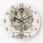 Family Tree Photo Collage 8 Pictures Name Lt Beige Large Clock