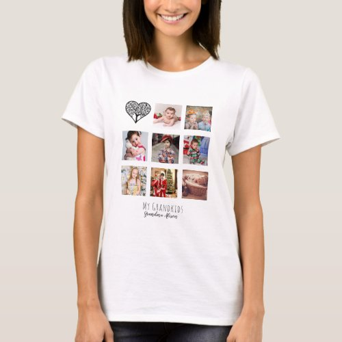 Family Tree Photo Collage Grandma Grandmother Gift T_Shirt