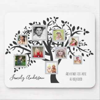 Family Tree Photo Collage Template Personalized Mouse Pad