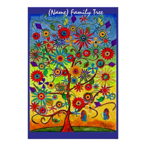 Family tree poster to be customized zazzle