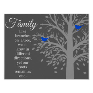 Family Tree Quote Art Poster Print