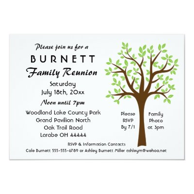Family Tree Teal Green Family Reunion Invitation  ZazzleCom